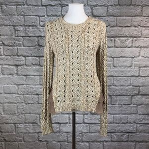 Eri + Ali Anthro Open Knit Ruffle Hem Sweater